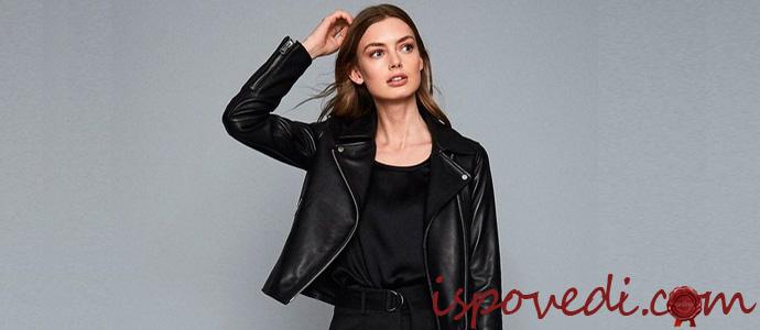 девушка в черной кожаной куртке