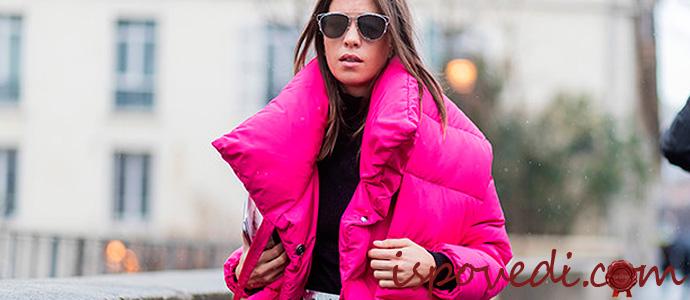 Яркий пуховик розово-фиолетового цвета