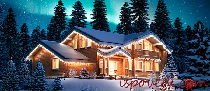 новогоднее оформление фасада загородного дома