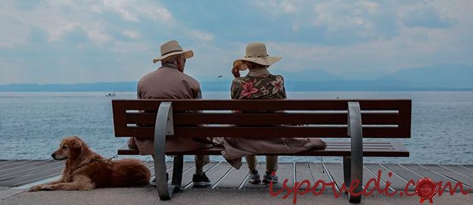 одинокая пожилая пара у моря