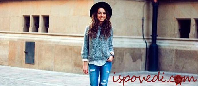 девушка в модном свитере