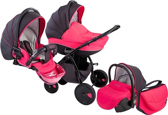 Пример черно-розовой коляски