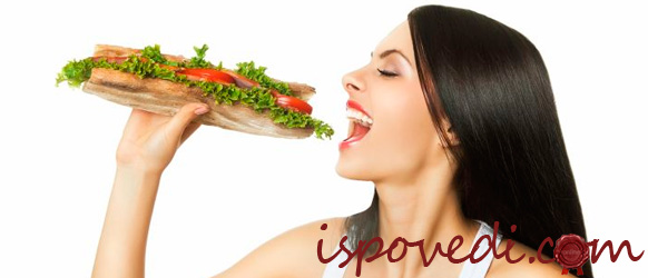 девушка с бутербродом