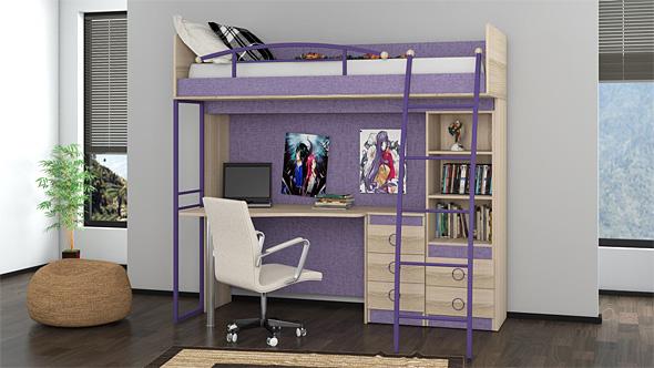Кровать-чердак фиолетового цвета