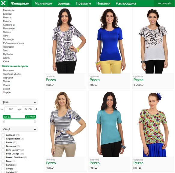 Типичный каталог женской одежды