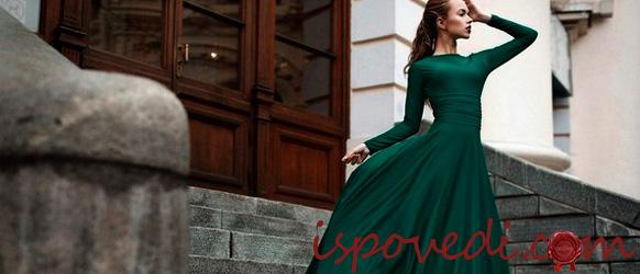 Красивое зеленое вечернее платье